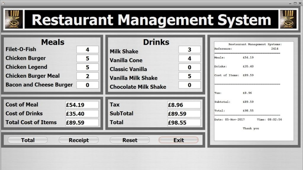 restaurant management system software screenshot.